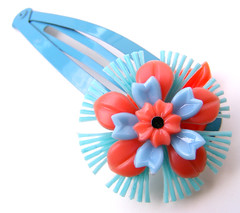 Blue and Orange Vintage Flowers Barrette