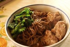 soba noodles with squid meatballs