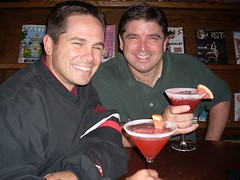 "joe k & todd indulging in ""ruby slipper"" martini's, at the library bar (That Nikon Girl) Tags: martinis librarybar sissies rubyslipper thealexishotel rubyslippermartini"
