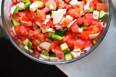 Chopped Vegetable Salad with Watermelon and Feta