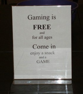 gaming sign at the Civic Center Library in Scottsdale, AZ