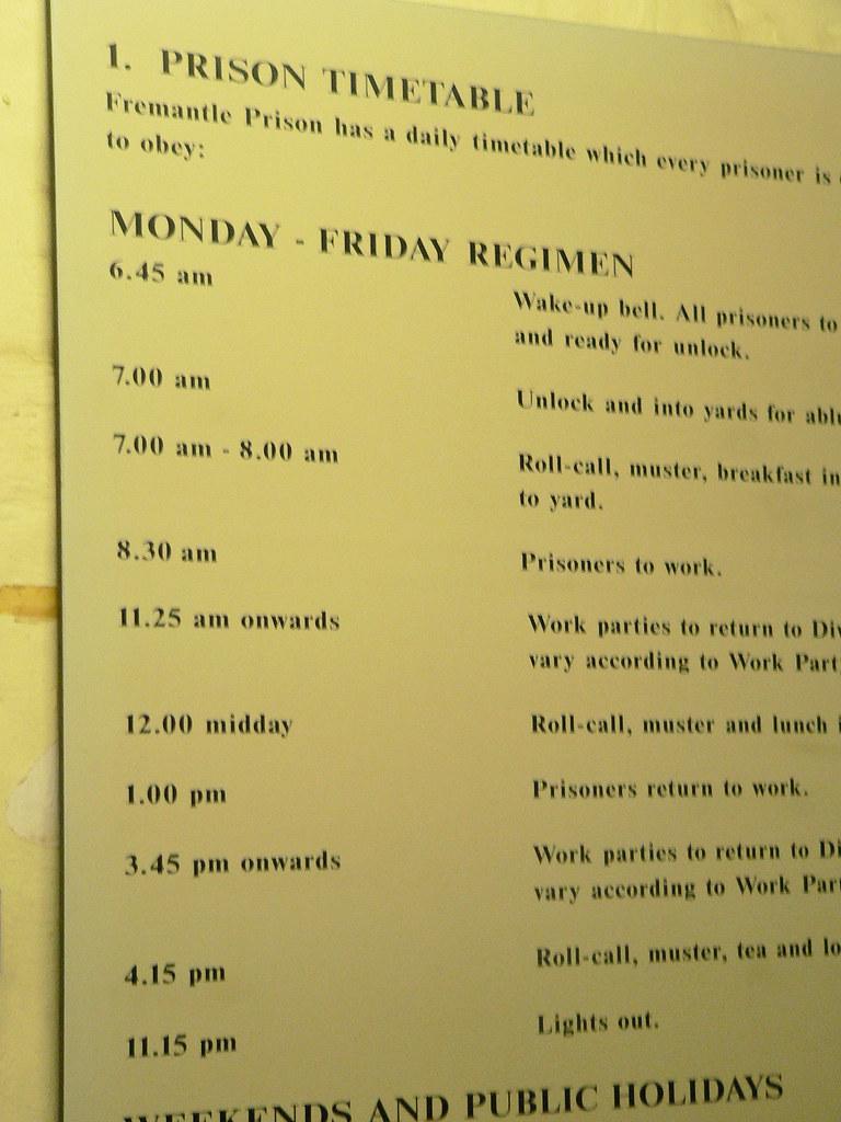 Prison timetable