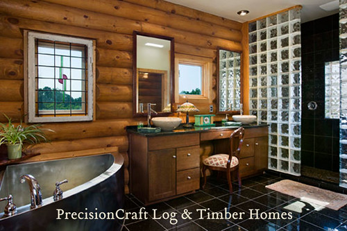 Custom Log Home | Master Bathroom View | by PrecisionCraft Log Homes,house, interior, interior design