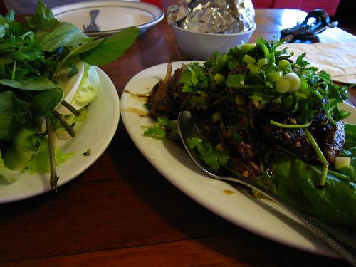 Beef nam tok (grilled beef salad) and greens