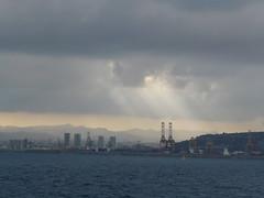P1010464 (MichielDeG) Tags: barcelona clouds landscape sunray