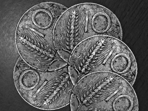 5 monete da 10 Lire