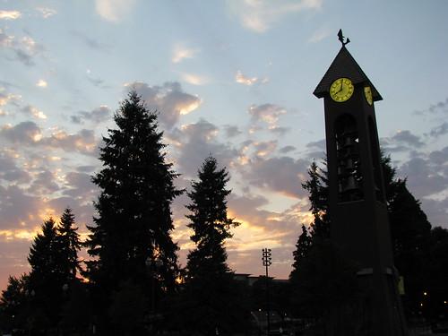 Esther Short Park Belltower At Sunset