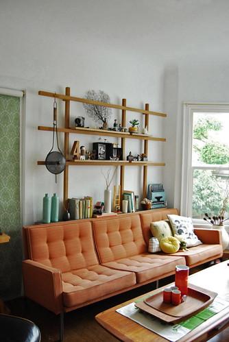 Living Room Interior Design Idea with Orange Sofa