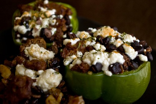 Stuffed Peppers with Chorizo and Frijoles Negros