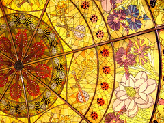 Glass Ceiling - Explored! (eighthave) Tags: flowers glass yellow nashville guitar tennessee mandolin banjo stainedglass ceiling lobby conventioncenter ladybug fiddle bumblebees opryland concierge gaylordopryland