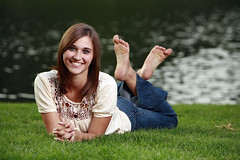 Portrait (www.trentonmichael.com) Tags: school lake feet water girl smile grass canon eos pond highschool teen trent 5d davis laying seniorportrait alienbees thepose b800 ab800 groveutahsalt cityfaceportraitposetrent