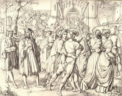 18- Fausto y Wagner entre los caminantes en frente de las puertas