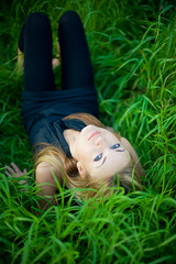So unlikely (Geshpanets) Tags: autumn summer portrait green girl beauty smile face grass outside 50mm eyes outdoor 5d 5014 canonef50mmf14usm inthegrass russiangirl