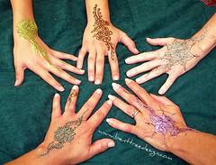 group shot! (Lady Tetsu) Tags: glitter body group henna mehndi heena mehandi hennabodyart glitterglitter temptu benttreedesign artshine mehndiglitter colorhenna colormehndi notpremadehennacones gildinggel hennaglitter tattooglitter