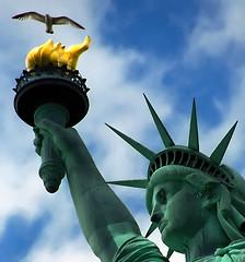 "New York - Liberty Island ""Statue of Liberty & Seagull"" (David Paul Ohmer) Tags: newyorkcity travel usa newyork bird tourism statue lady america liberty freedom democracy wings manhattan seagull united adventure torch states statueofliberty independence lowermanhattan libertyisland ladyliberty newyorkharbor supershot of mywinners anawesomeshot colorphotoaward aplusphoto news21 theunforgettablepictures goldstaraward"