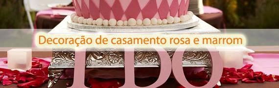 Decoração de casamento rosa e marrom