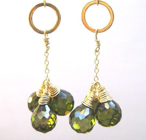 Olive Cluster Pendant Earrings