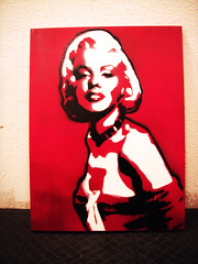 Marilyn stencil (UNBORNE) Tags: red white black art painting stencil paint marilynmonroe canvas spraypaint