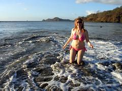 k in the surf (snapawayoungman) Tags: pink camping red vacation woman costa sun hot beach water k hair fun surf rica bikini foam funloving