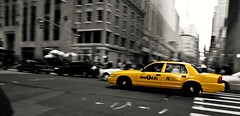 Taxi! (vasiliy.v) Tags: new york motion yellow manhattan cab taxi selective colourisation