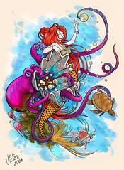 sereia - o retorno (ilustracionamentador) Tags: blue sea fish art luz water tattoo ink wonderful design mar colorful artist graphic turtle victor peixe octopus efeito imagination draw creature desenho tinta artista oceano grafico tatuagem colorido sereia imaginao gradiente mermeid victorjam
