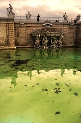 The Fluorescent Fountain (Gilderic Photography) Tags: vienna wien city autumn light sculpture reflection green castle art water fountain pool statue architecture automne lumix austria eau europe palace panasonic belvedere chateau fontaine mythology vienne attraction touristic bassin mythologie gilderic anawesomeshot aplusphoto theunforgettablepictures dmctz4