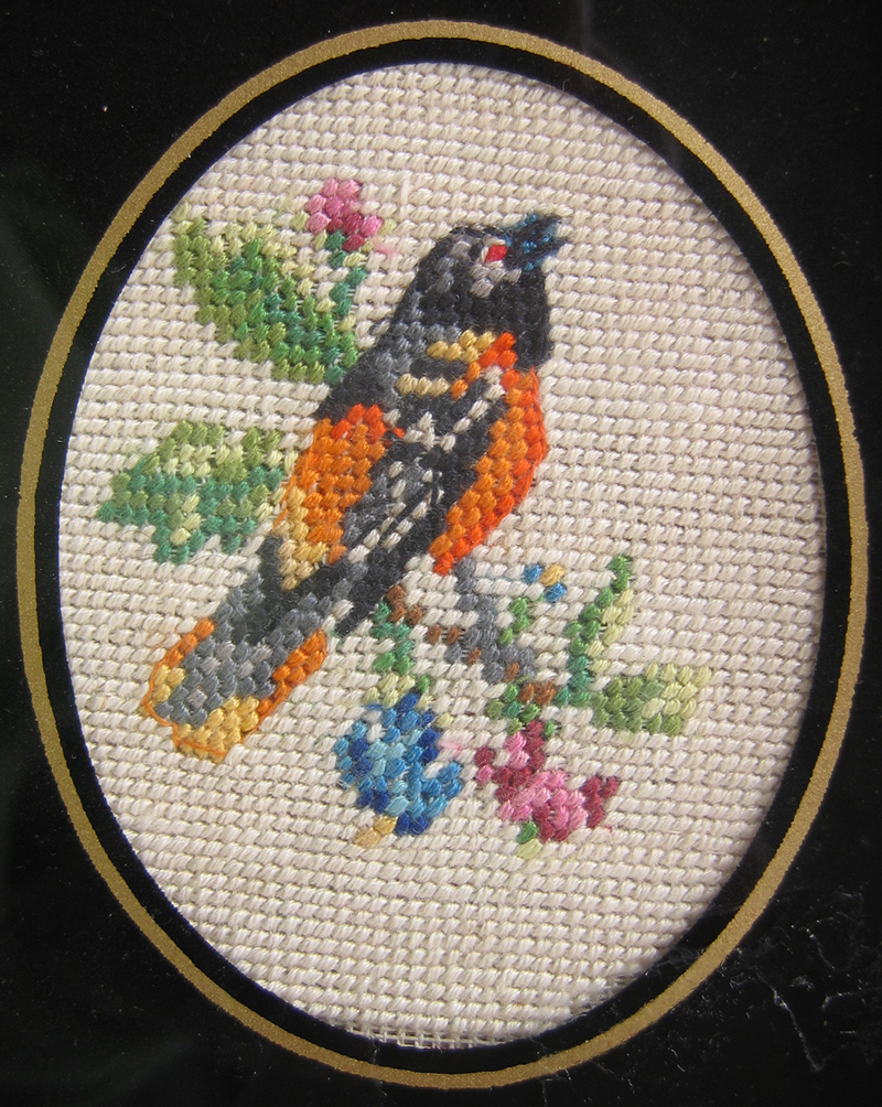 petit point Baltimore Oriole