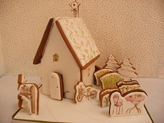 Eco -Chic Gingerbread House (neviepiecakes) Tags: christmas cookies painted biscuit gingerbreadhouse origins fondant renewableenergy ecohouse shabbychic ecochic
