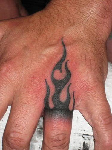 Tribal Flame hand tattoo
