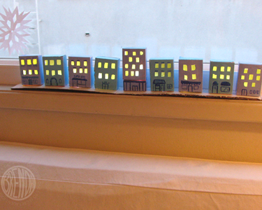 eight tiny paper buildings for Hanukkah craft
