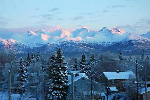 Pioneers View of the snowy pink and blue Chugach Range Anchorage Alaska USA