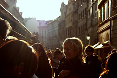 In the Light (Sandra_R) Tags: street city light people woman canon prague crowd czechrepublic