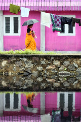 Street  Mattancherry  Kochi (Jules1405) Tags: world street travel pink woman india lady umbrella asian asia indian kerala laundry asie cochin kochi inde asiatique fortkochi reflectionsoflife lovelyphotos mattancherry jules1405 unseenasia