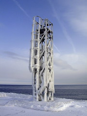 Frosty (Anik Richard) Tags: ocean blue winter sea sky cloud white snow canada cold ice nature weather architecture landscape quebec hiver freezing structure arctic peninsula froid gaspesie gaspe grandevallee