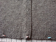 seed stitch button band and bottom