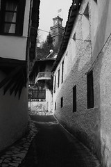Background  The Clock .. (AfRO...) Tags: bw clock greece oldtown trikala