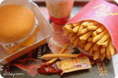 Ketchup's a nice change. (AiClay) Tags: miniature ketchup drink burger fastfood straw coke mcdonalds fries junkfood bjd tomatosauce dollhouse fillet