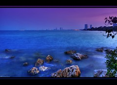 Pattaya before sunrise (grantthai) Tags: blue sea beach sunrise thailand dawn rocks waves tide lilac thai pattaya d300 ndfilter 35faves platinumphoto bangsaray grantthai grantcameron