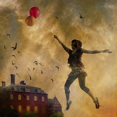 fly me with balloons (Chopak) Tags: light portrait sky tree bird texture girl hat birds photoshop dark balloons square chapeau themoulinrouge 500x500 oldpaper dreamcatchers darkcolors visiongroup apotropaico stealingshadows hourofthesoul vision100 ballsoon