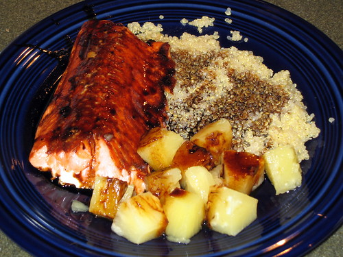Grilled steelhead with quinoa and pineapple