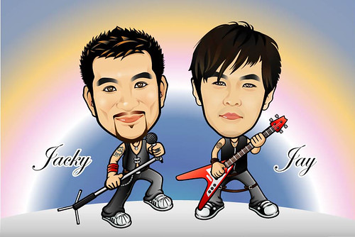 Q Digital Caricature Rock Theme Drawing