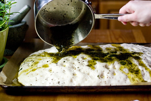 More Herb Oil on Focaccia Dough