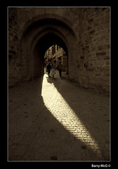 Entrance to Carcassonne (Barry McGrath) Tags: family light summer france june stone canon eos town holidays raw arch historic cobbles 2008 carcassonne languedoc 30d fortified anawesomeshot aplusphoto barrymcg bazzymcg canonefs1785f456isusm