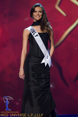 Claudia Ferraris, Miss Italy 2008, competes in a gown of her choice ...