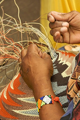 Rebecca Magwasa at work (wycombiensian) Tags: newmexico santafe folkart market international
