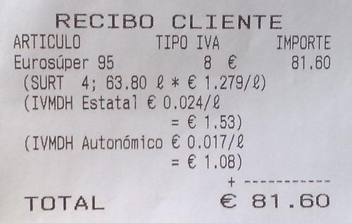 Recibo gasolina