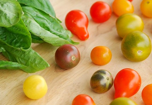 baby heirloom tomatoes and basil