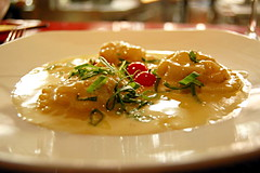 Crab Meat Ravioli in Cheese Sauce