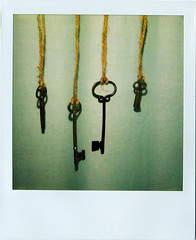 antique keys. ((Kerry Ball)) Tags: keys polaroid key polaroids 600film skeletonkeys sx70sonar