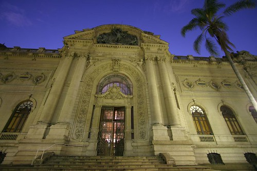 The beautiful facade of the Bellas Artes Museum, Santiago.